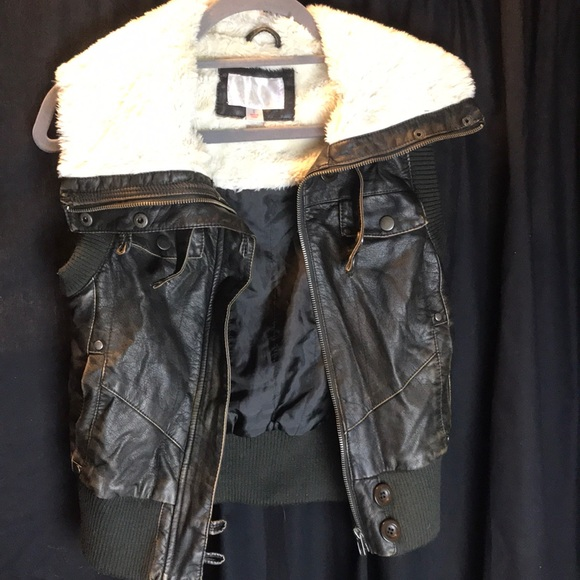 Xhilaration Jackets & Blazers - Leather Fluffy Vest